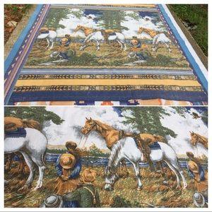 Vintage Western Horses Prairie Camping Blanket